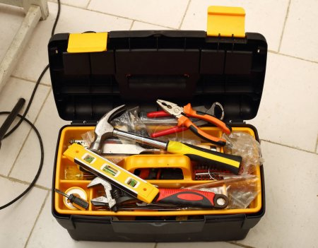 Photo for Open plastic tool box full of hand tools - Royalty Free Image