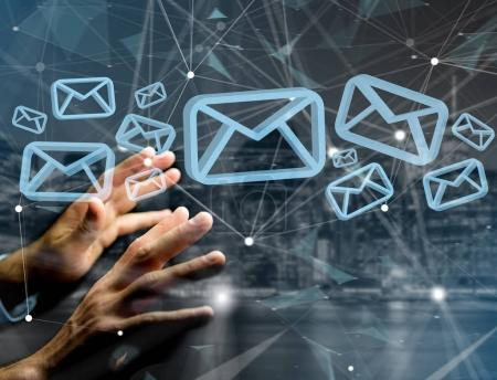 Blue Email symbol displayed on a futuristic interface - Message