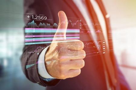 Photo pour Vue d'une Bourse de données de trading affichées sur une interface futuriste - image libre de droit