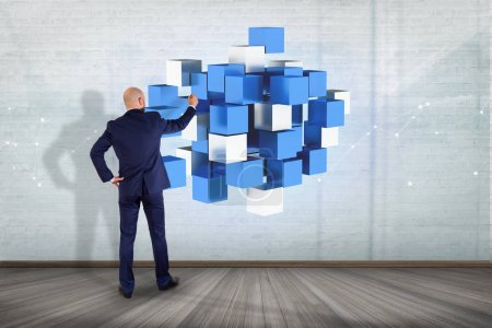 3d rendering blue and white cube on a futuristic interface