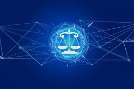 Justice balance icon on a futuristic interface