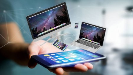 Photo for View of Devices like smartphone, tablet or computer flying over connection network - 3d render - Royalty Free Image