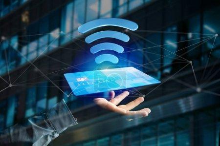 Photo pour Vue du paiement avec le concept de carte de crédit sans contact - rendu 3D - image libre de droit