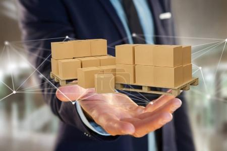 Pallet of carboxes with network connection system - 3d render
