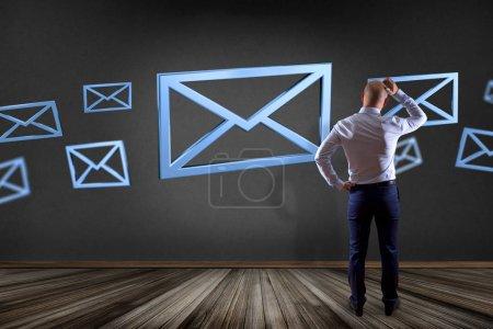 Blue Email symbol displayed