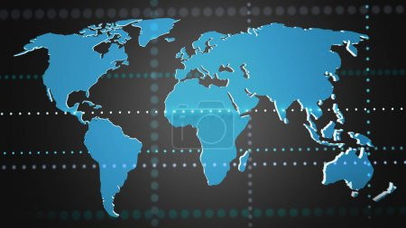 View of a Connected world map on a uniform background