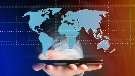 View of a Businessman using a smartphone with a Connected world map - 3d render