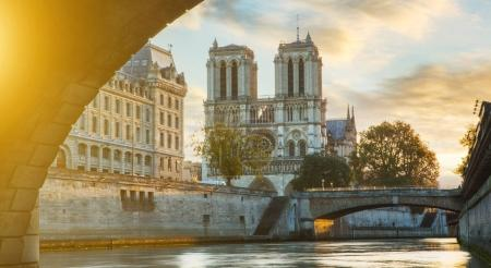 View of Notre dame de Paris and Seine river in Paris, France