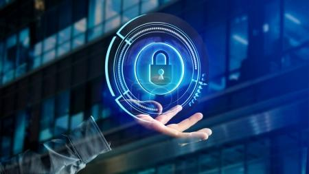 View of a Businessman holding a Shinny technologic locker security button  - 3d render