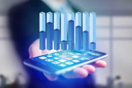 Photo pour Vue d'une statistique d'entreprise affichée sous forme de graphique sur une interface futuriste - Concept d'entreprise - image libre de droit