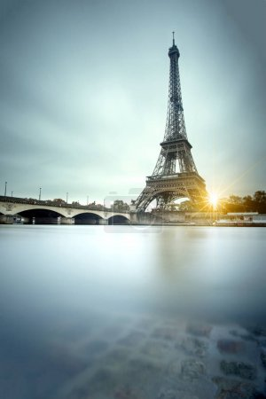 View of Eiffel tower and Seine river in Paris, France