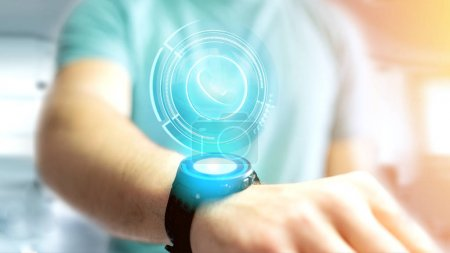 View of man using  Shinny technologic phone button on his smartphone - 3d render