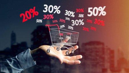 View of a Businessman holding a Red and white Trolley and sales discount - 3d render