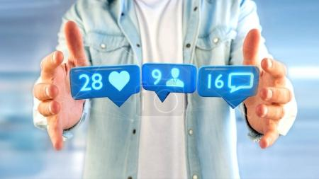 Man holding a Like, Follower and message notification on social network - 3d render