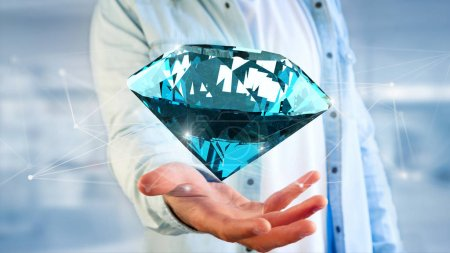 Diamond shinning in front of connections - 3d render