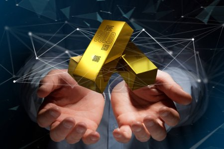 View of Gold bullion shinning in front of connection - 3d render