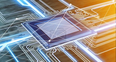 Photo for View of CPU processor chip and network connection on a circuit board - 3d render - Royalty Free Image