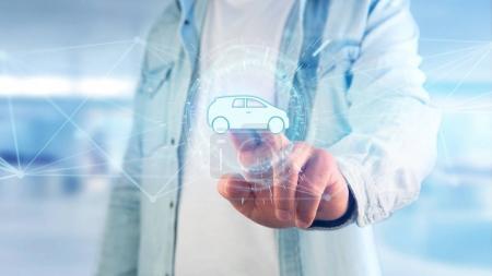 Photo pour Vue de l'icône de voiture sur une interface futuriste - image libre de droit