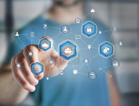 Photo pour Vue de la connexion réseau d'affaires affichée sur une interface futuriste avec icône technologique - image libre de droit