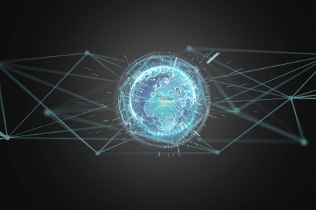 Photo for Connected earth globe concept icon on futuristic interface - Royalty Free Image
