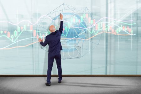 Photo for View of a Businessman in front of a wall with a 3d render Stock exchange trading data information display on a futuristic interface - Royalty Free Image