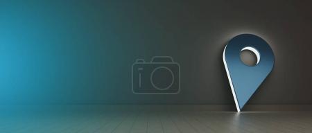 Photo pour Vue d'un support de broche symbole lumineux tenir contre un mur - image libre de droit