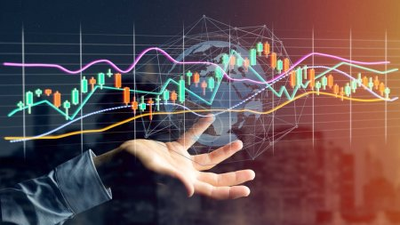 View of businessman holding stock exchange trading data information display on futuristic interface