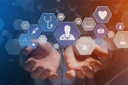 Photo for Medical and general healthcare icons displayed on technology interface - Royalty Free Image