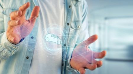 Photo pour Vue de l'icône de voiture sur l'interface futuriste - image libre de droit