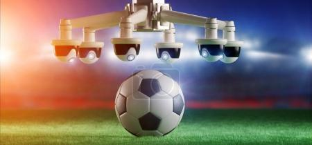 View of cameras assistance for refereeing of football match