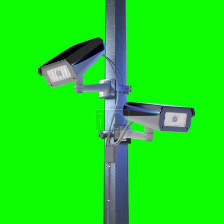 View of street security cctv cameras isolated on green background