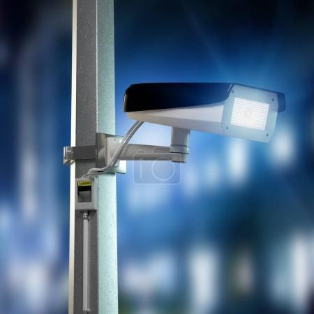 Photo pour Vue de la sécurité de la rue caméra cctv filmer nuit ville - image libre de droit