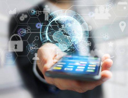 Photo pour Connexion au réseau d'affaires international avec des icônes technologiques et globe sphérique - image libre de droit