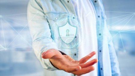 Photo pour Icône de protection de sécurité sur la main masculine - image libre de droit