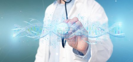 Photo for View of a Doctor holding a 3d render DNA - Royalty Free Image