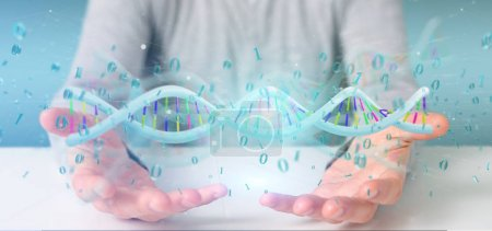 Photo for View of a Man holding a 3d rendering data coded Dna with binary file around - Royalty Free Image