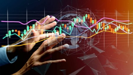 Photo for View of a Businessman holding a 3d render Stock exchange trading data information display on a futuristic interface - Royalty Free Image