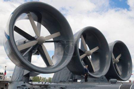 "Engines of the small landing ship ""Evgeny Kocheshkov"" close-up. International Maritime Defense Show in St. Petersburg"