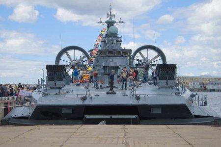 "SAINT-PETERSBURG, RUSSIA - JULY 02, 2017: Small amphibious assault ship ""Evgeny Kocheshkov"" on the pier. The International Naval Salon in St. Petersburg"