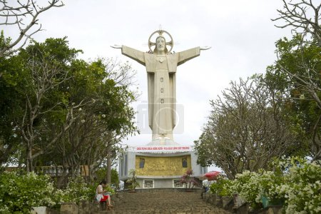 VUNG TAU, VIETNAM - DECEMBER 22, 2015: Giant statue of Jesus Christ on Mount Nyo