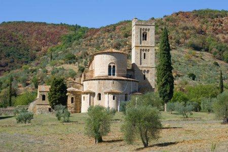 TUSCANY, ITALY - SEPTEMBER 21, 2017: San Antimo abbeys close up in the sunny day. Tuscany, Italy