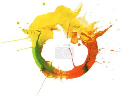 Photo pour Abstrait acrylique et aquarelle tache peint fond. Papier texturé. Isolé . - image libre de droit