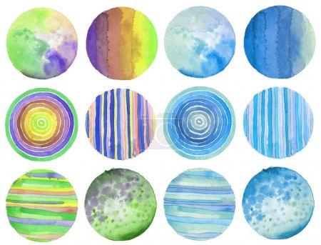 Photo pour Abstrait acrylique et aquarelle cercle peint fond. Papier texturé. Isolé. Collecte . - image libre de droit