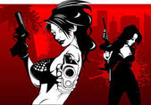 Two beauty babes with guns vector illustration