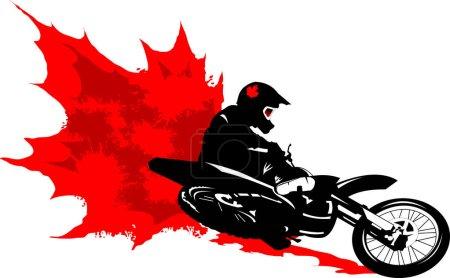 Illustration pour Moto cross rallye racer avec feuille d'érable rouge et taches de peinture - image libre de droit
