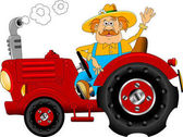 farmer worker driving a tractor