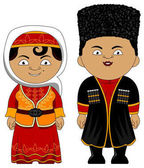 young couple in national traditional costumes of Azerbaijan vector illustration