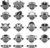 sports teams badges or shields black and white