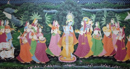 Batik traditional Indian silk painting, souvenir shop in Kolkata, India.