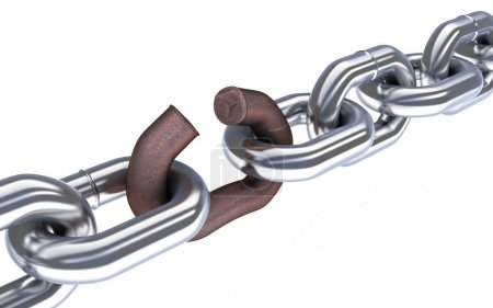Chain and broken corrosion link